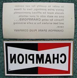 2 NOS CHAMPION Spark Plugs Decals/Stickers-Original Vintage