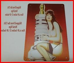 Bosch Spark Plug PInup Girl Tin Metal Sign Garage Man Cave S