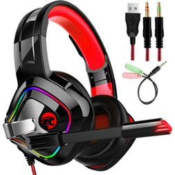 Stereo Headphone Bass Surround Gaming Headset Mic for PS4 Ne