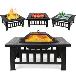 FIXKIT Fire Pit Table Outdoor with BBQ Grill Shelf, Multifun