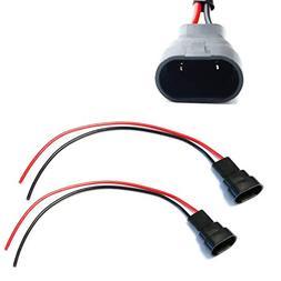 iJDMTOY  9005/9006/H10 Male Adapter Wiring Harness Sockets W