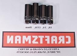CRAFTSMAN 4 pc SAE STANDARD & METRIC MM 3/8 INCH DRIVE SPARK
